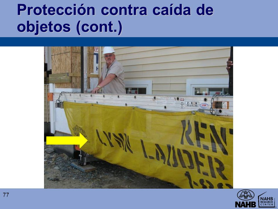 Protección contra caída de objetos (cont.)