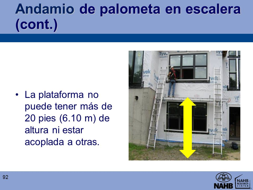 Andamio de palometa en escalera (cont.)
