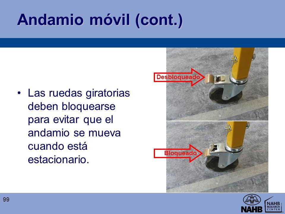 Andamio móvil (cont.) Las ruedas giratorias deben bloquearse para evitar que el andamio se mueva cuando está estacionario.