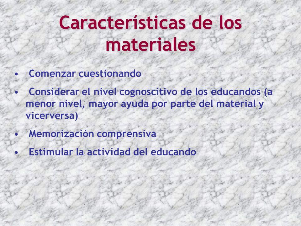 Características de los materiales