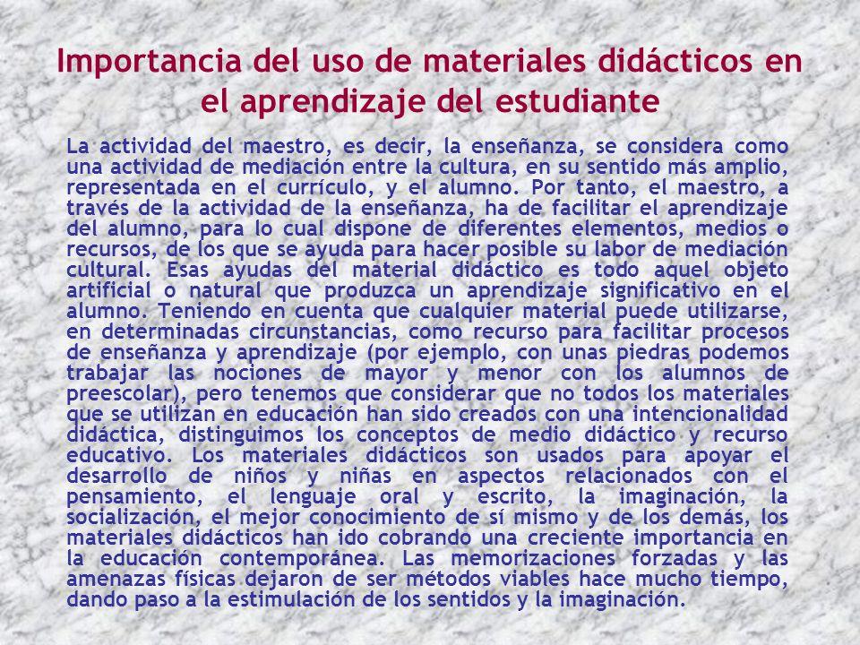 Importancia del uso de materiales didácticos en el aprendizaje del estudiante