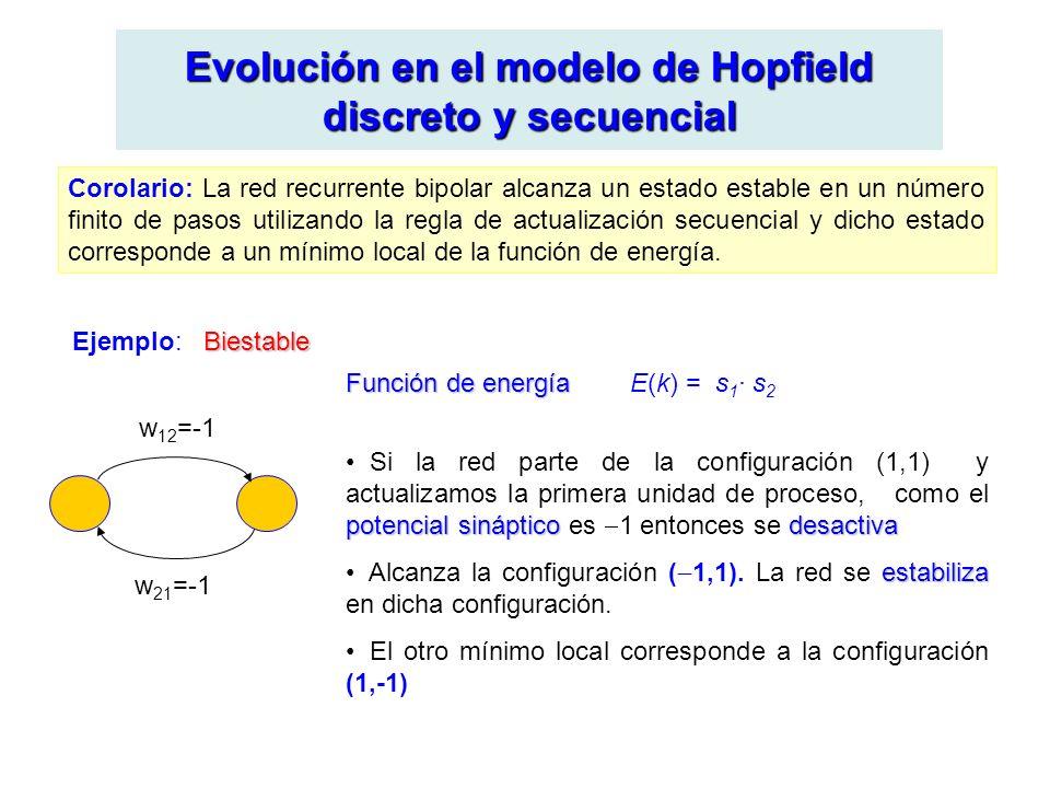 Evolución en el modelo de Hopfield discreto y secuencial