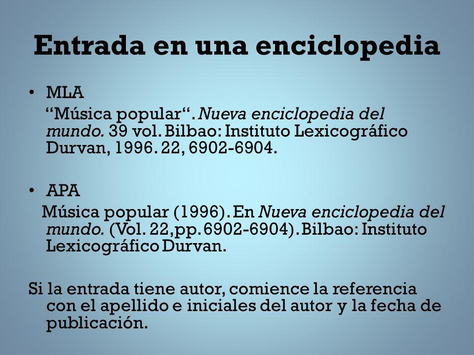 Entrada en una enciclopedia