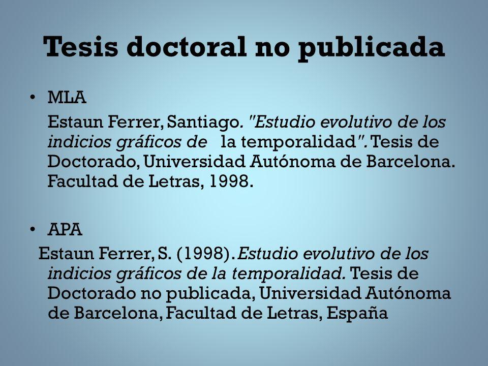 Tesis doctoral no publicada