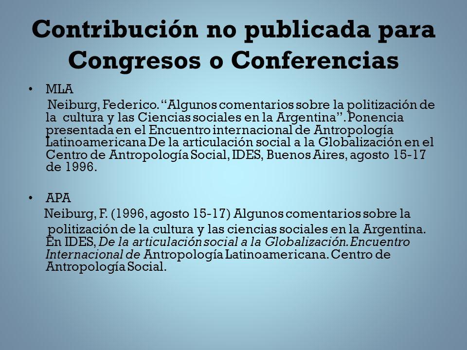 Contribución no publicada para Congresos o Conferencias