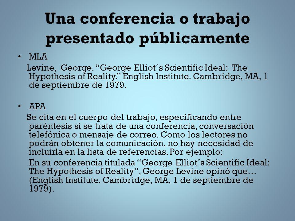 Una conferencia o trabajo presentado públicamente