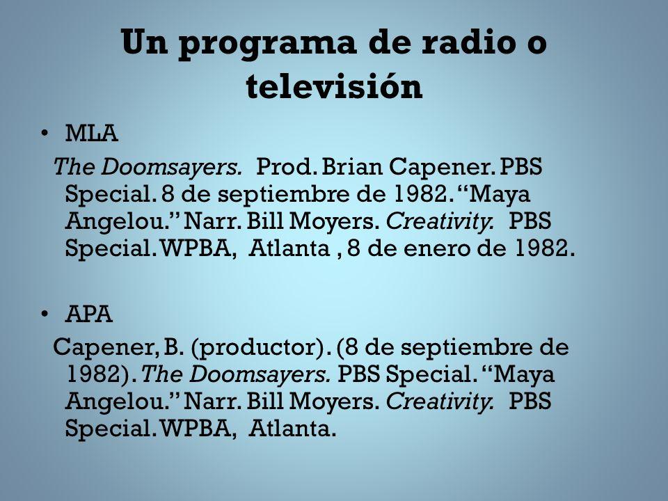 Un programa de radio o televisión