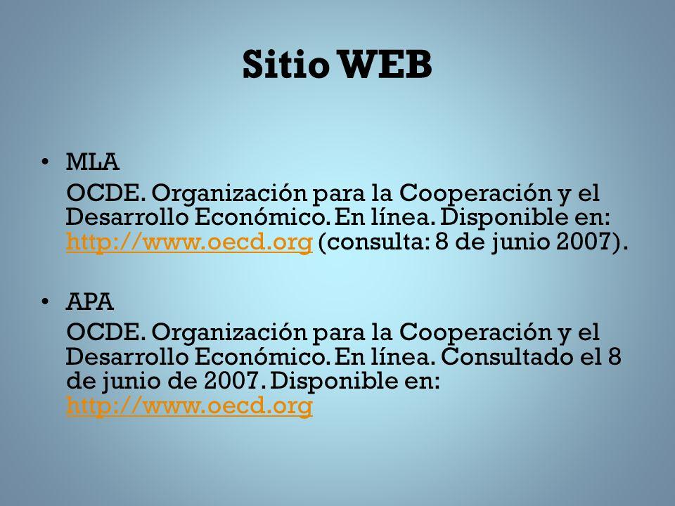 Sitio WEB MLA.