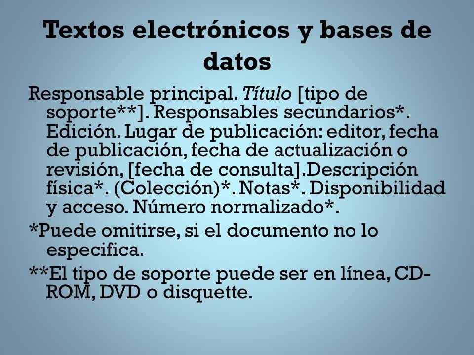 Textos electrónicos y bases de datos