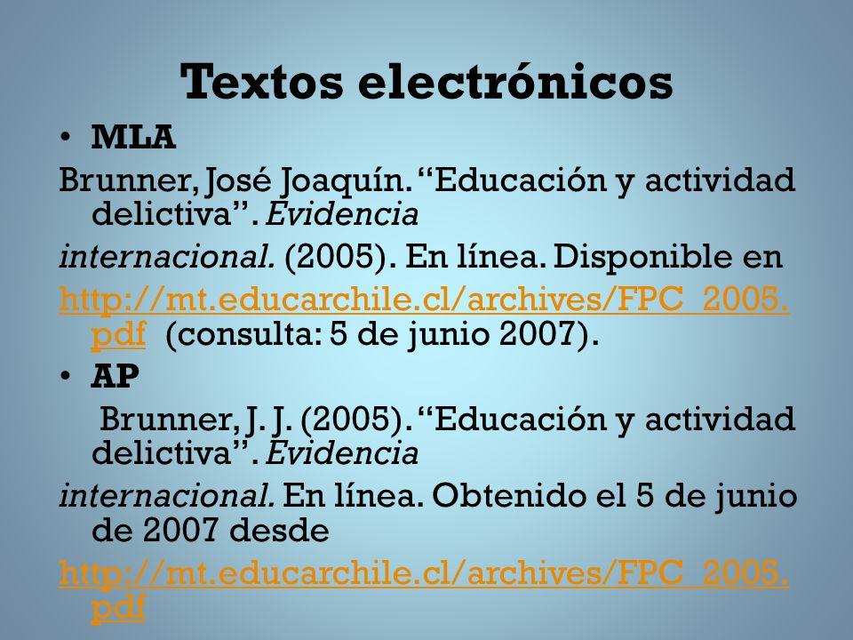 Textos electrónicos MLA