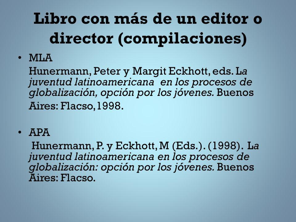 Libro con más de un editor o director (compilaciones)