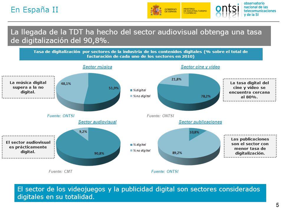 En España II La llegada de la TDT ha hecho del sector audiovisual obtenga una tasa de digitalización del 90,8%.