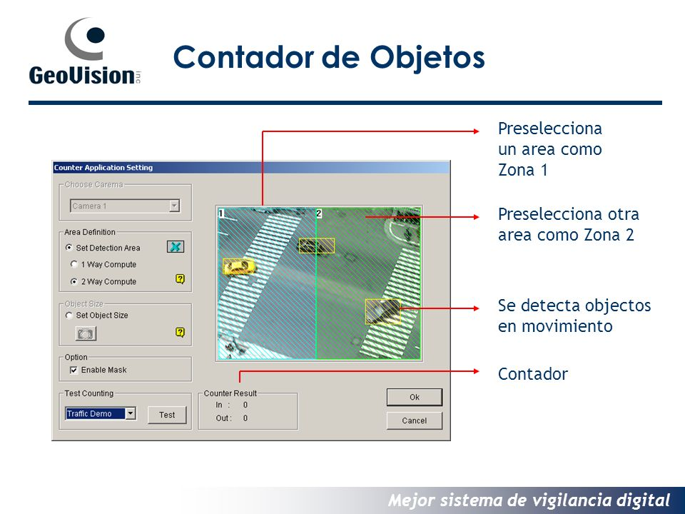 Contador de Objetos Preselecciona un area como Zona 1