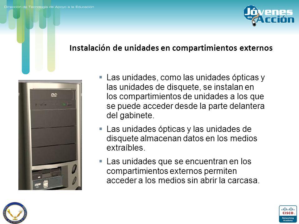 Instalación de unidades en compartimientos externos