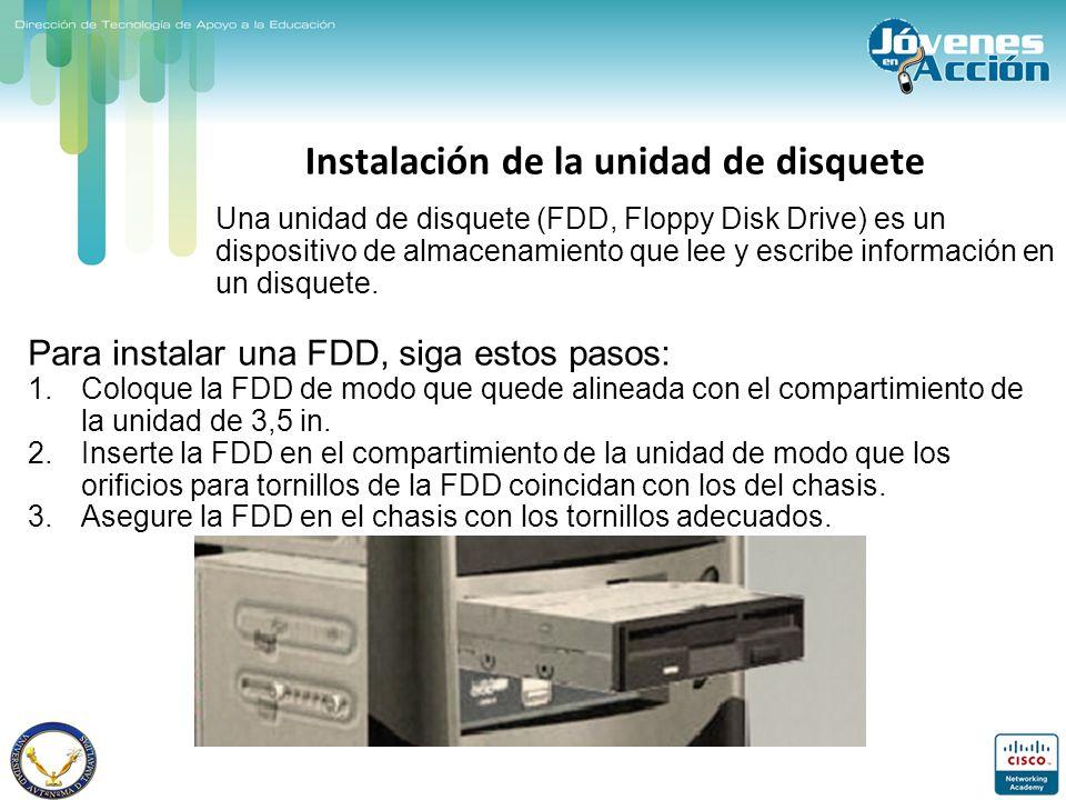 Instalación de la unidad de disquete