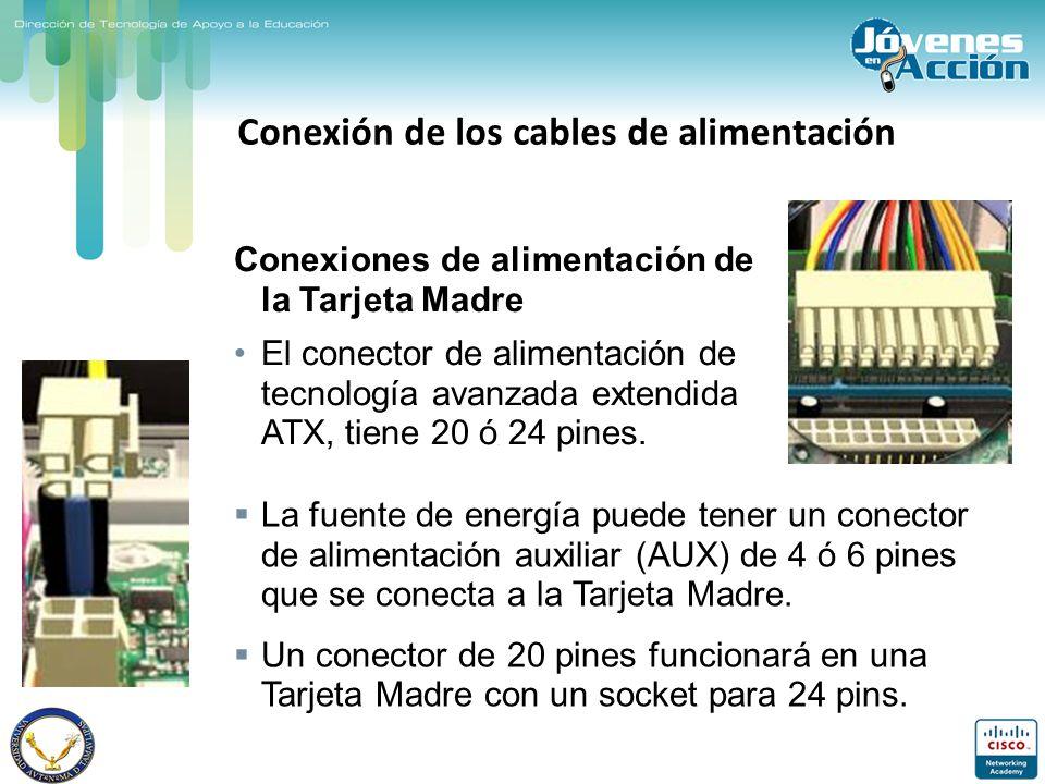 Conexión de los cables de alimentación