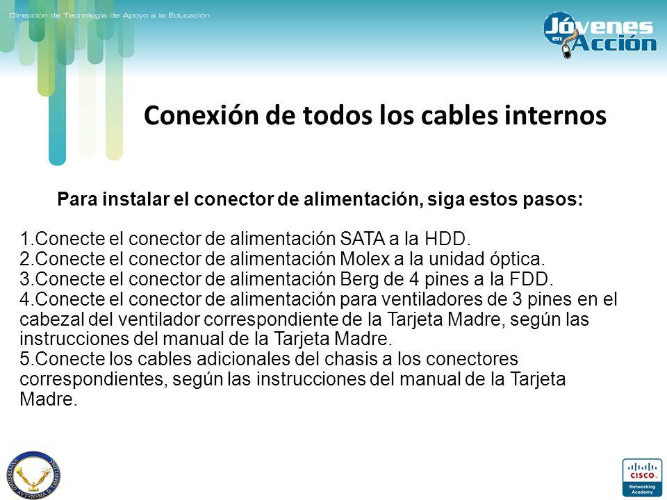 Conexión de todos los cables internos
