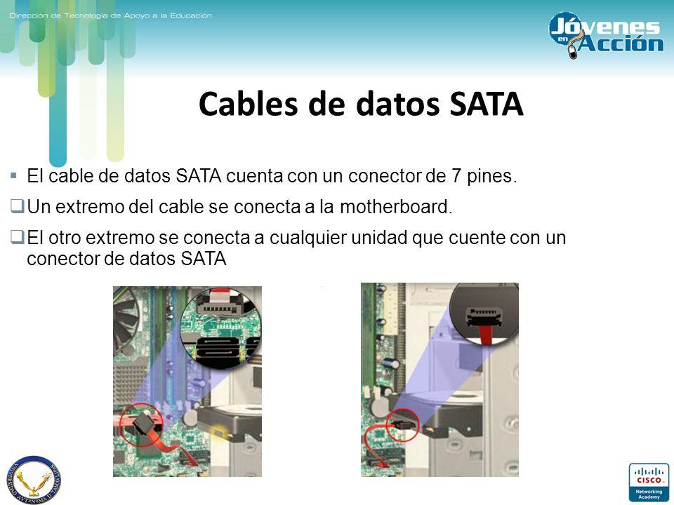 Cables de datos SATA El cable de datos SATA cuenta con un conector de 7 pines. Un extremo del cable se conecta a la motherboard.