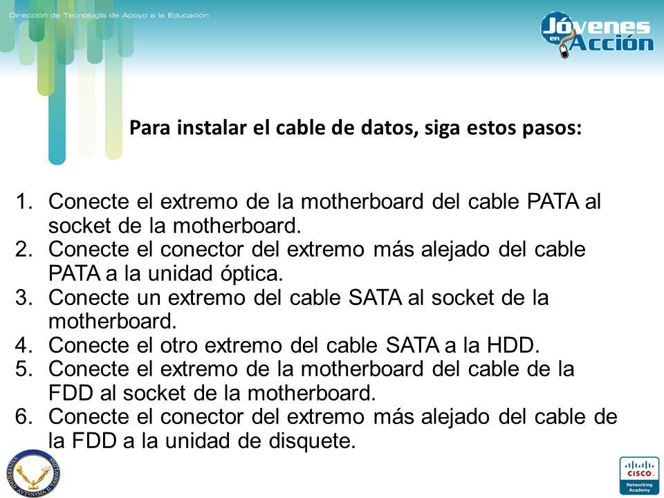 Para instalar el cable de datos, siga estos pasos: