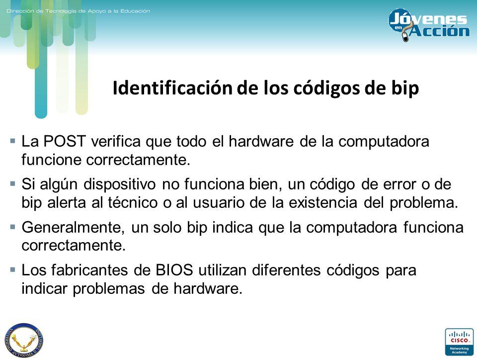 Identificación de los códigos de bip