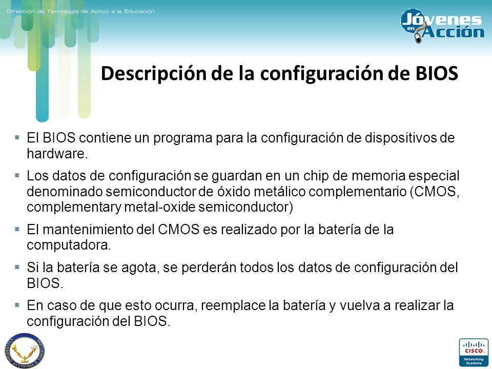 Descripción de la configuración de BIOS