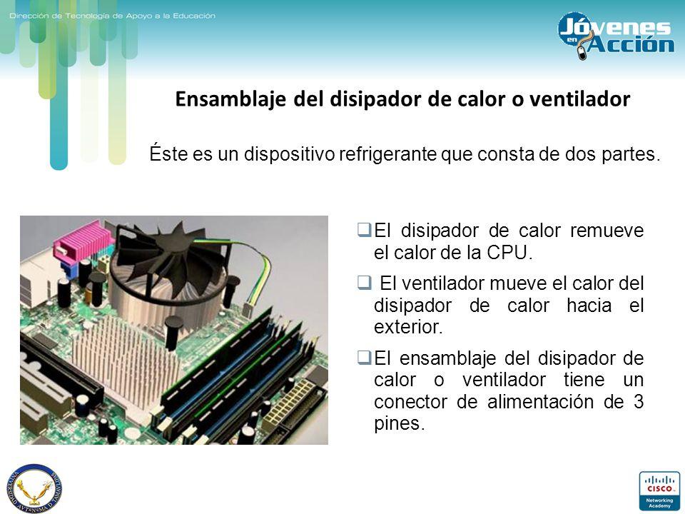 Ensamblaje del disipador de calor o ventilador