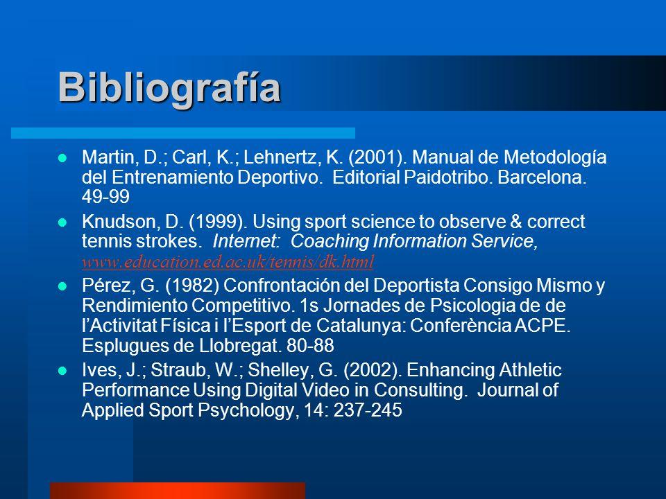 BibliografíaMartin, D.; Carl, K.; Lehnertz, K. (2001). Manual de Metodología del Entrenamiento Deportivo. Editorial Paidotribo. Barcelona. 49-99.