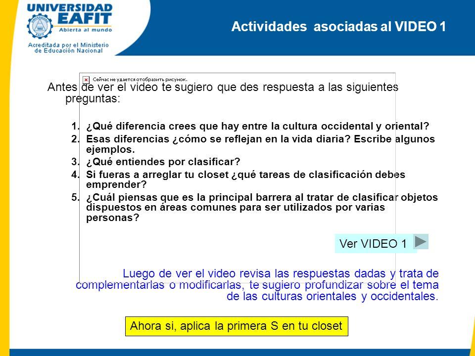 Actividades asociadas al VIDEO 1