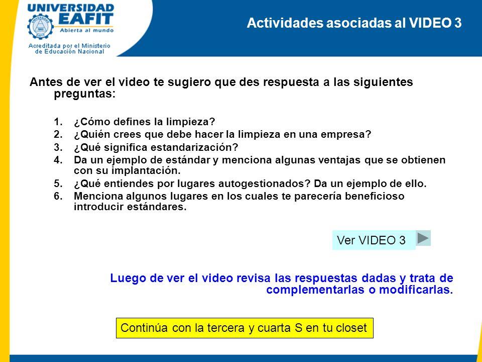 Actividades asociadas al VIDEO 3