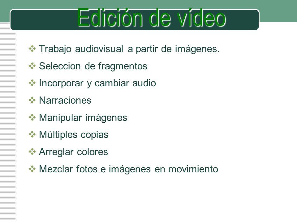 Edición de vídeo Trabajo audiovisual a partir de imágenes.