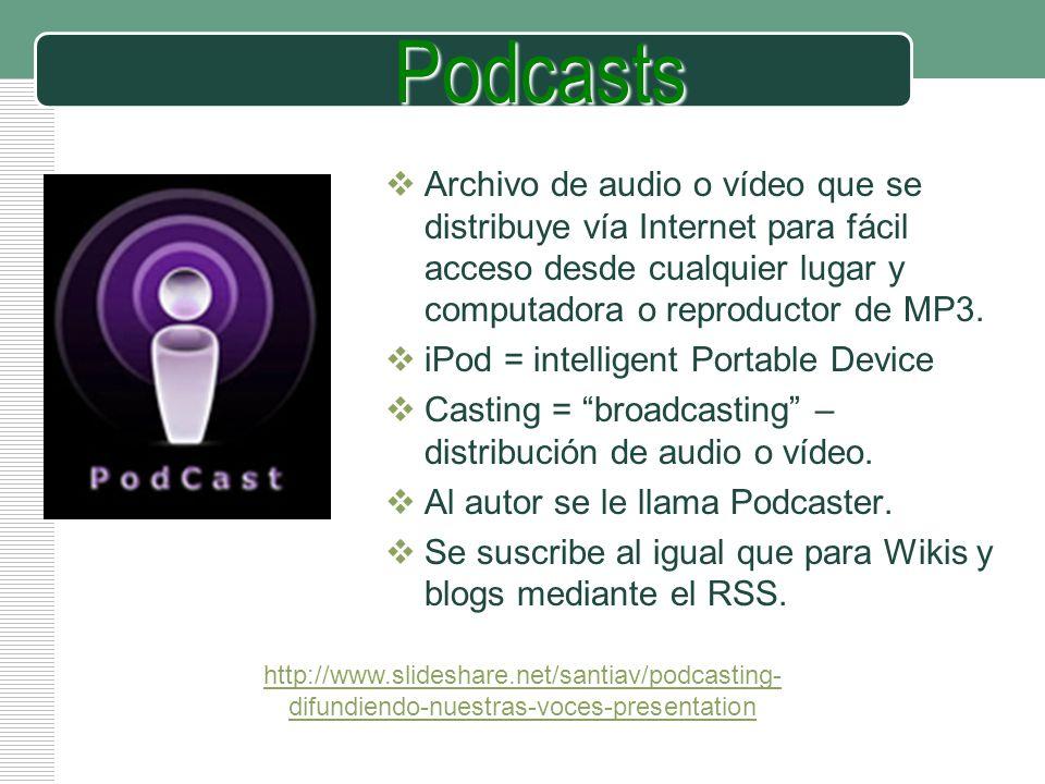 Podcasts Archivo de audio o vídeo que se distribuye vía Internet para fácil acceso desde cualquier lugar y computadora o reproductor de MP3.