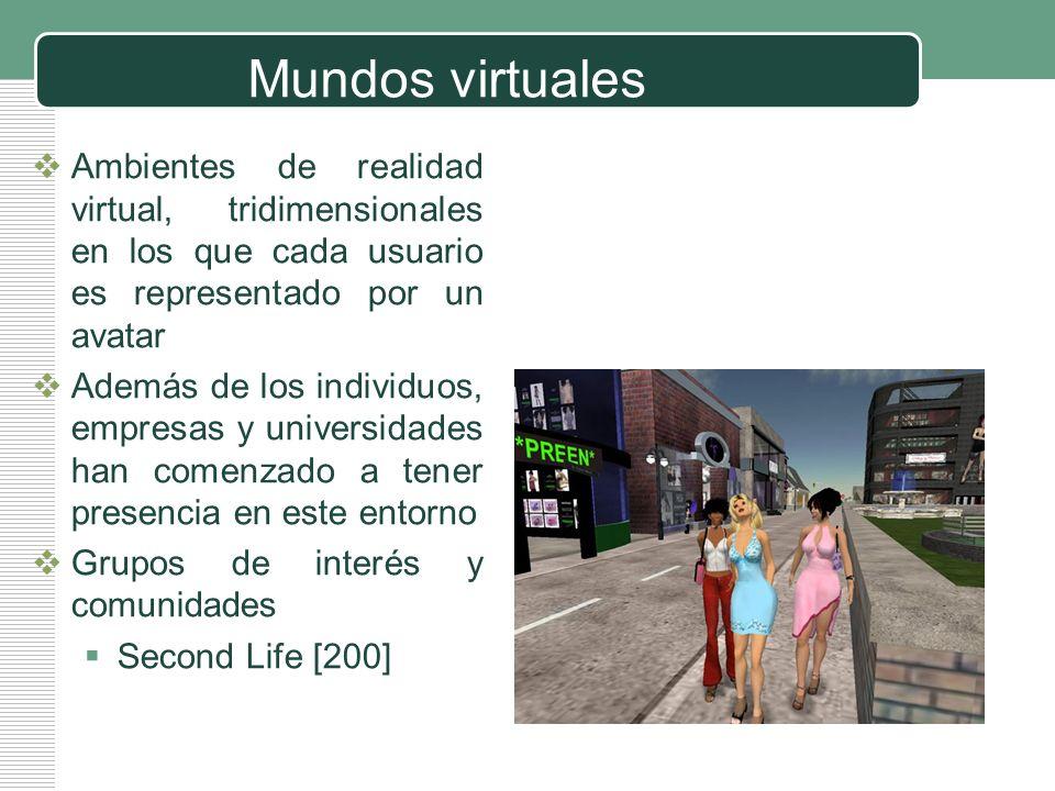 Mundos virtuales Ambientes de realidad virtual, tridimensionales en los que cada usuario es representado por un avatar.