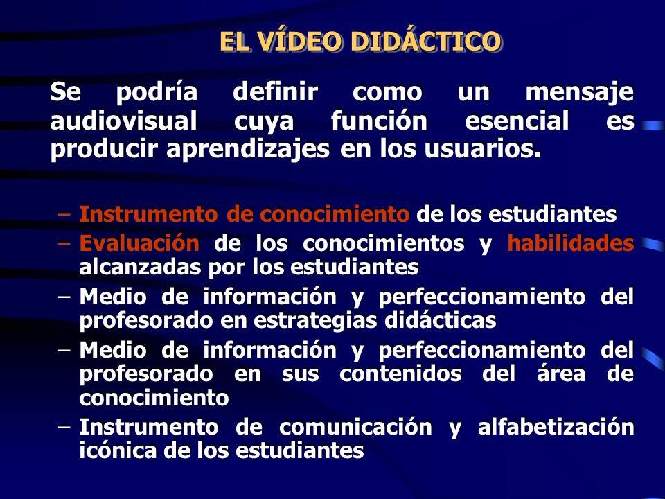 EL VÍDEO DIDÁCTICO Se podría definir como un mensaje audiovisual cuya función esencial es producir aprendizajes en los usuarios.