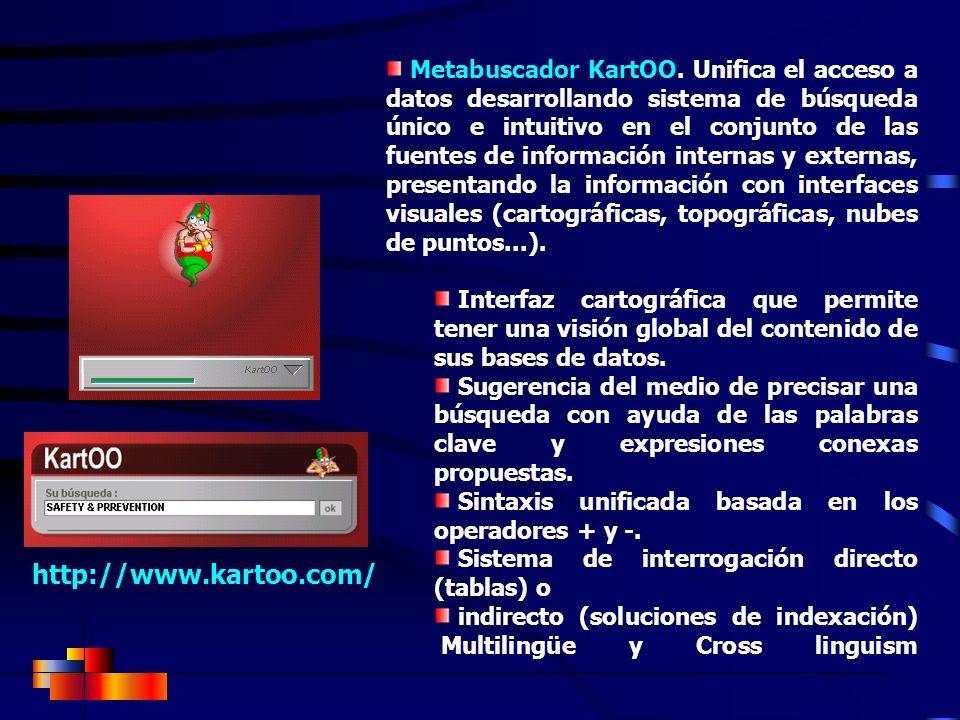Metabuscador KartOO. Unifica el acceso a datos desarrollando sistema de búsqueda único e intuitivo en el conjunto de las fuentes de información internas y externas, presentando la información con interfaces visuales (cartográficas, topográficas, nubes de puntos...).