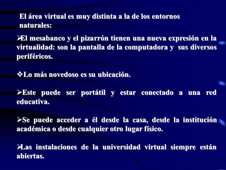 El área virtual es muy distinta a la de los entornos naturales: