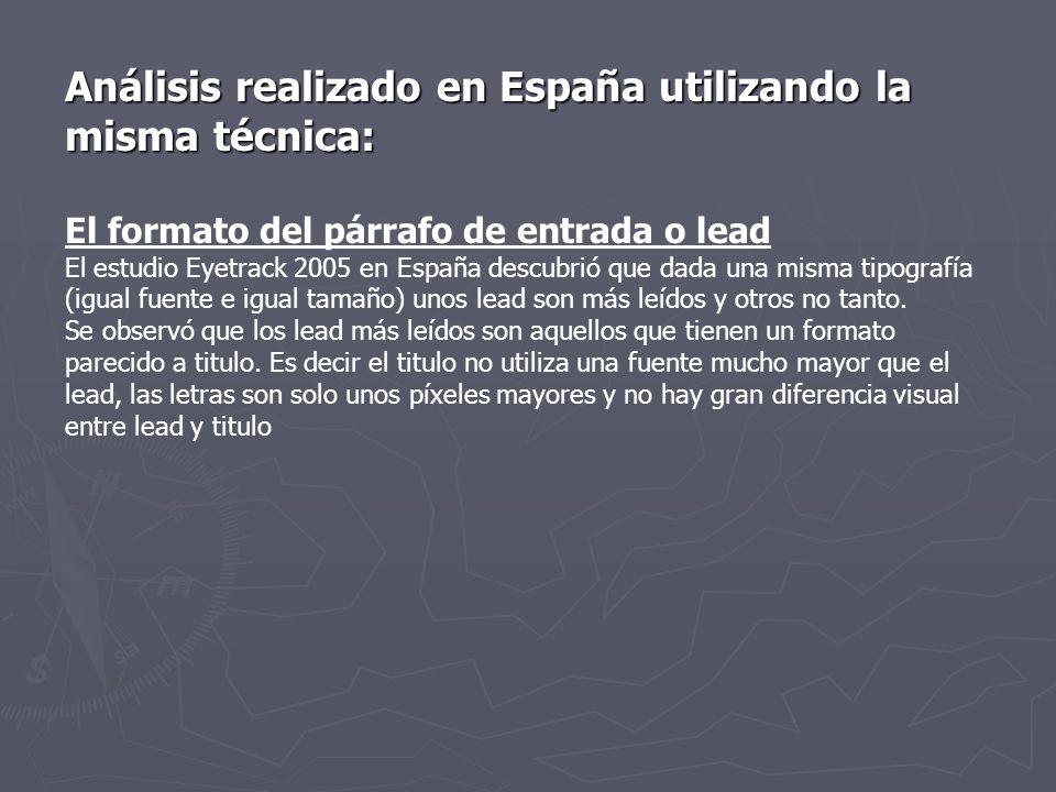 Análisis realizado en España utilizando la misma técnica: