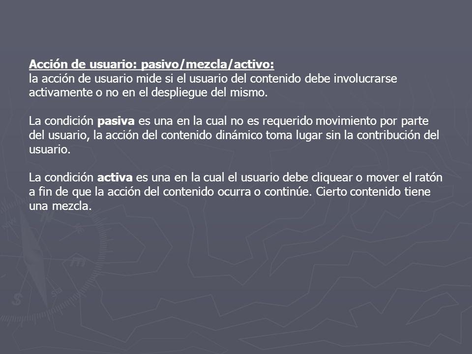 Acción de usuario: pasivo/mezcla/activo: