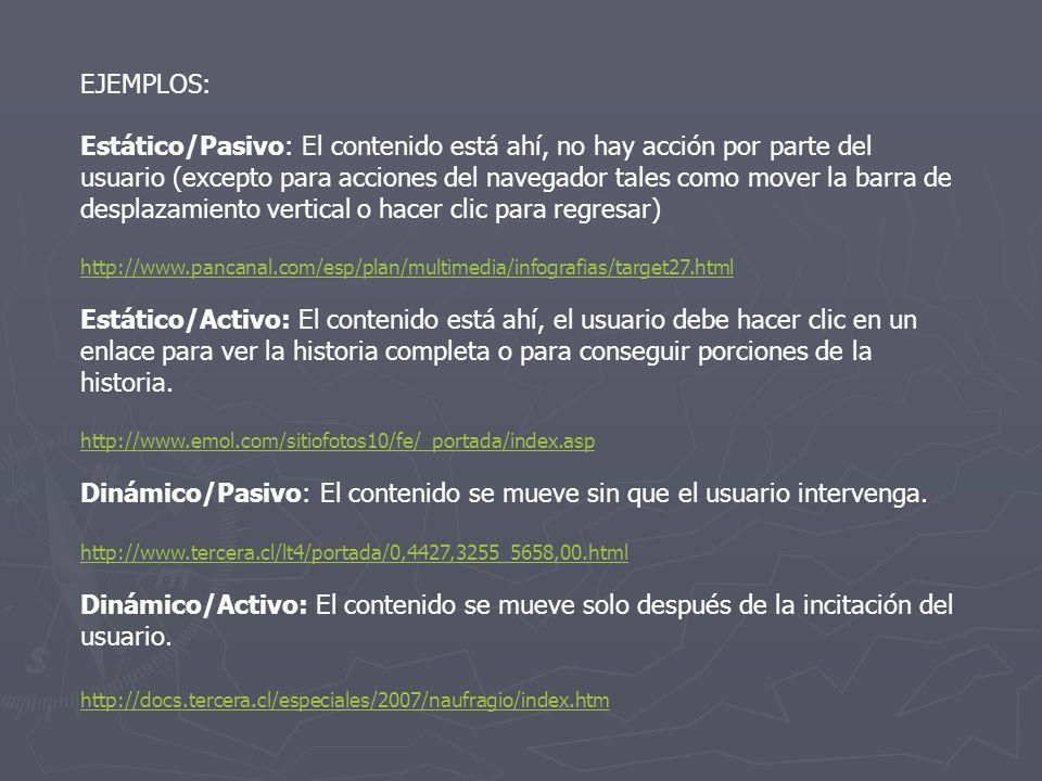 Dinámico/Pasivo: El contenido se mueve sin que el usuario intervenga.