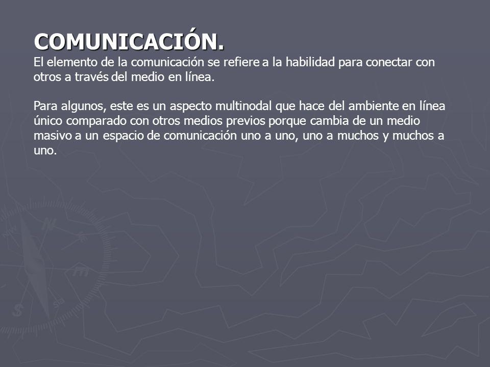 COMUNICACIÓN. El elemento de la comunicación se refiere a la habilidad para conectar con otros a través del medio en línea.