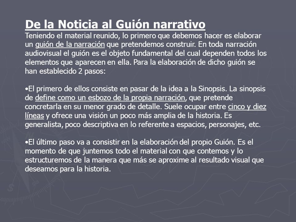De la Noticia al Guión narrativo