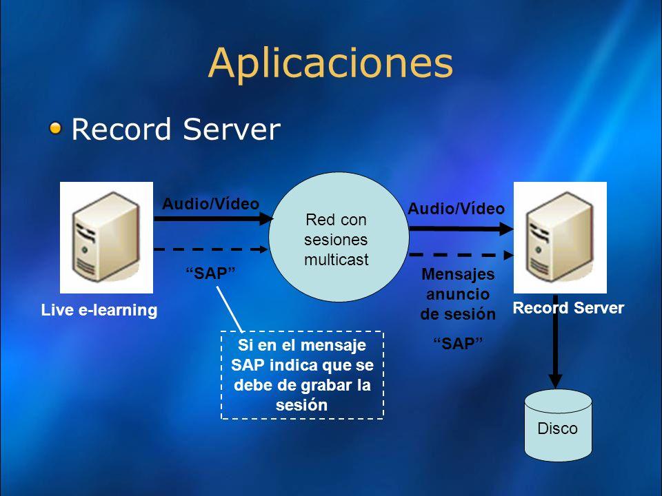 Aplicaciones Record Server Audio/Vídeo Audio/Vídeo