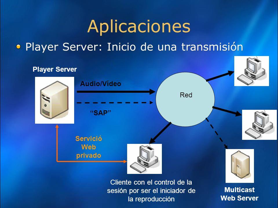 Aplicaciones Player Server: Inicio de una transmisión Player Server