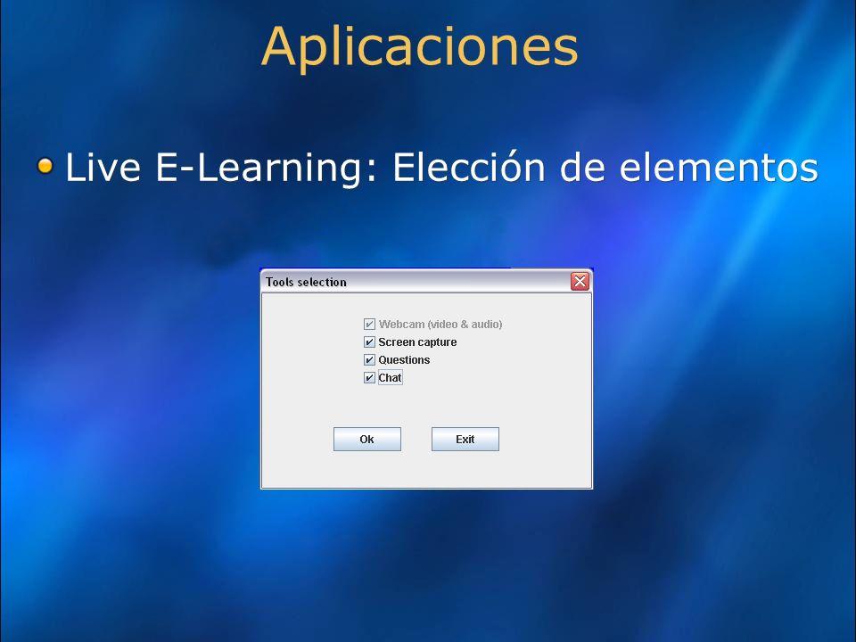 Aplicaciones Live E-Learning: Elección de elementos