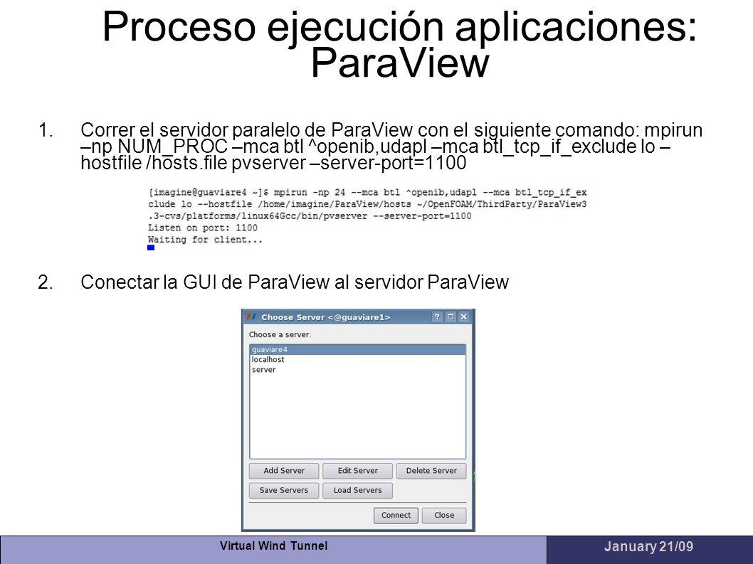 Proceso ejecución aplicaciones: ParaView