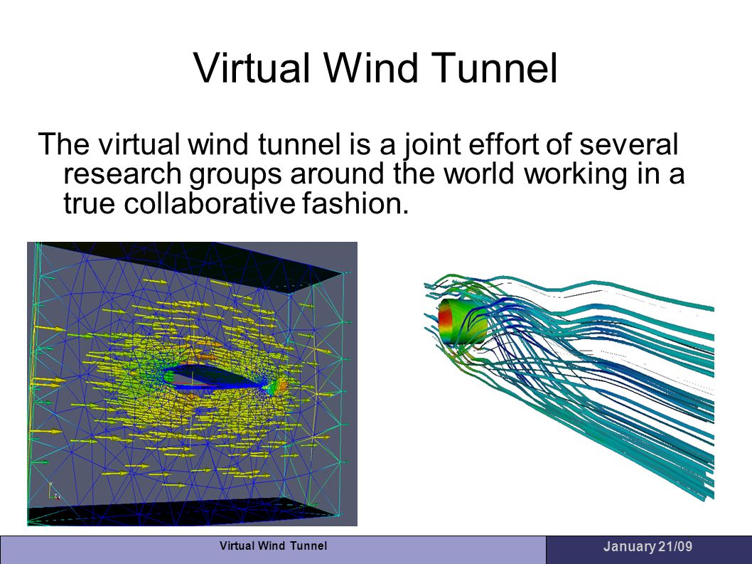Virtual Wind Tunnel The virtual wind tunnel is a joint effort of several research groups around the world working in a true collaborative fashion.