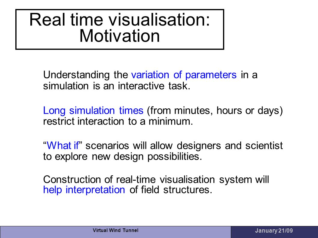 Real time visualisation: Motivation