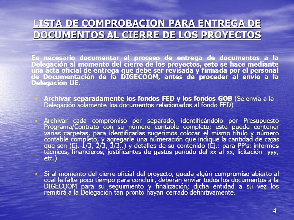 LISTA DE COMPROBACION PARA ENTREGA DE DOCUMENTOS AL CIERRE DE LOS PROYECTOS
