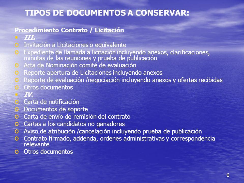 TIPOS DE DOCUMENTOS A CONSERVAR: