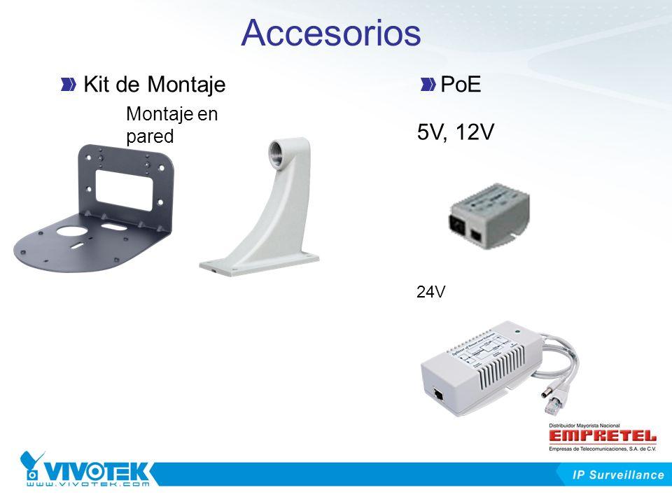 Accesorios Kit de Montaje PoE 5V, 12V Montaje en pared 24V