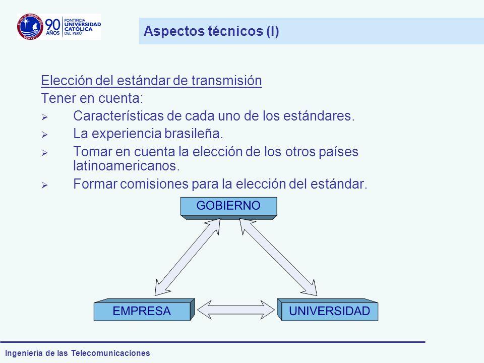 Aspectos técnicos (I) Elección del estándar de transmisión. Tener en cuenta: Características de cada uno de los estándares.